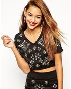 Asos Crop Top With Clustered Sequin Embellishment Co-Ord - Lyst