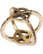 Lucky Brand Goldtone Crystallized Xo Ring - Lyst