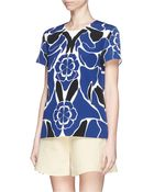 Alexander McQueen Flower Collage Print Cady Top - Lyst