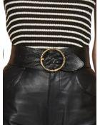 Saint Laurent Snake-Embossed Leather Buckle Belt - Lyst