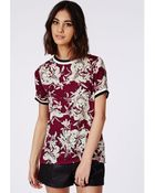 Missguided Sports Rib Floral Shell Top Burgundy - Lyst