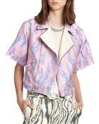 3.1 Phillip Lim Woodgrain-Print Kimono-Sleeved Biker Jacket - Lyst