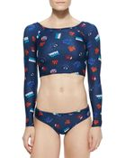 Marc By Marc Jacobs Beth Dont Panic! Cropped Rashguard - Lyst