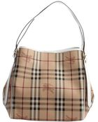 Burberry White Trimmed Nova Check Canvas 'Canterbury' Small Tote - Lyst