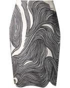 Lela Rose Black & Ivory Swirl Print Skirt - Lyst
