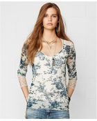 Denim & Supply Ralph Lauren Floral-Print Lace Henley Top - Lyst