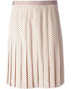 Tory Burch Dotted Pleated Skirt - Lyst