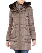 Vince Camuto Faux Fur Trim Hooded Down Coat - Lyst
