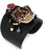 Betsey Johnson Goldtone Crystal Skull Black Leather Cuff Bracelet - Lyst