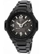 Casio Mens G-shock Chronograph Black Dial Black Ion Plated Stainless Steel - Lyst