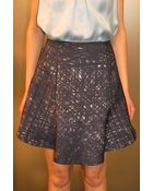 Carven Printed Flannel Skirt Navy Ecru - Lyst