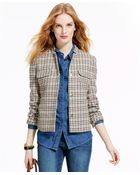 Tommy Hilfiger Cropped Houndstooth Jacket - Lyst