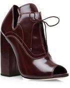 Ellery Boardwalk Leather Ankle Boots In Burgundy - Lyst