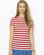 Ralph Lauren Lauren Short Sleeve Stripe Knit Tee - Lyst
