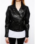 Asos Leather Biker Jacket With Panel Detail - Lyst