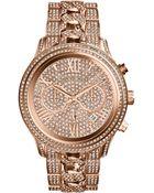 Michael Kors Women'S Chronograph Lindley Pavè Rose Gold-Tone Stainless Steel Bracelet Watch 48Mm Mk5900 - Lyst