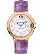Cartier Ballon Bleu De 18Ct Pink-Gold, Diamond And Leather Watch - Lyst
