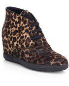 Prada Leopard-Print Calf Hair Wedge Sneakers - Lyst