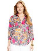 Lauren by Ralph Lauren Plus Size Paisley-Print Shirt - Lyst