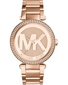 Michael Kors Women'S Parker Rose Gold-Tone Stainless Steel Bracelet Watch 33Mm Mk5865 - Lyst
