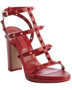 Valentino Red Leather Studded 'Rockstud' T-Strap Heel Sandals - Lyst