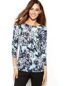 Inc International Concepts Threequartersleeve Printed Boatneck Top - Lyst