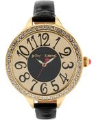 Betsey Johnson Women'S Black Patent Leather Strap Watch 47Mm Bj00387-02 - Lyst