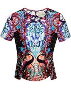 Mary Katrantzou Didascoop Printed Satin Peplum Top - Lyst