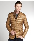 Moncler Brown Metallic 'Derain' Quilted Down Filled Jacket - Lyst