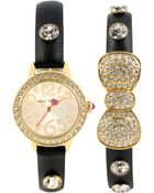 Betsey Johnson Women'S Crystal Accent Black Strap Watch Set 27Mm Bj00376-02 - Lyst