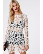 Missguided Falicity Lace Two Piece Bodycon Ivory - Lyst