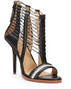 L.A.M.B. Fiona Caged Leather Sandals - Lyst