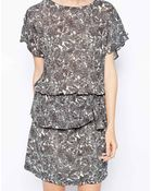 Ganni Dress With Peplum In Floral Print - Lyst