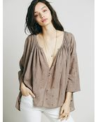 Free People Womens Embroidered Peasant Top - Lyst