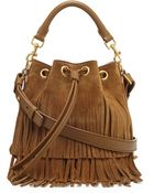 Saint Laurent Small Suede Fringe Bucket Shoulder Bag - Lyst