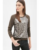 Forever 21 Sequined Raglan Pullover - Lyst