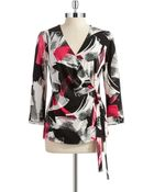 Anne Klein Patterned Faux Wrap Top - Lyst