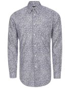 Paul Smith Navy 'Leaves' Print Cotton Shirt - Lyst