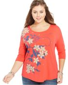 Lucky Brand Jeans Lucky Brand Plus Size Three-Quarter-Sleeve Printed Tee - Lyst