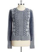 BCBGeneration Cable Knit Crewneck Sweater - Lyst
