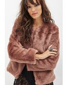 Forever 21 Collarless Faux Fur Jacket - Lyst