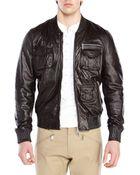 DSquared² Black Leather Bomber Jacket - Lyst