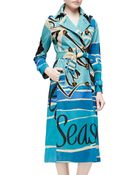 Burberry Prorsum Seascape-Print Double-Breasted Trenchcoat - Lyst