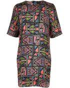 River Island Black Aztec Print Tshirt Dress - Lyst