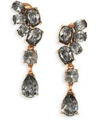 Oscar de la Renta Asymmetrical Crystal Clip-On Drop Earrings - Lyst