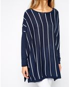 Asos Trapeze Sweater In Vertical Stripe - Lyst