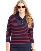 Lauren by Ralph Lauren Striped Shawl-Collar Pullover - Lyst