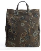 Gucci Olive Green Floral Print Nylon Tote With Leather Trim - Lyst