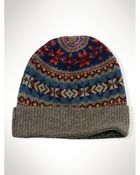 Ralph Lauren Fair Isle Wool Hat - Lyst