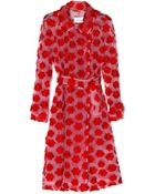Simone Rocha Red Embroidered Floral Trench Coat - Lyst
